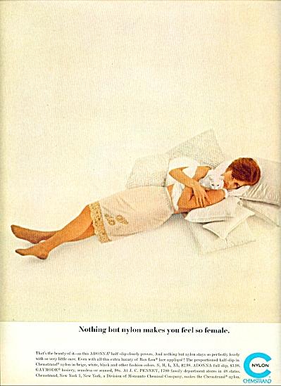 1962 -  Chemstrand nylon ad Woman in Adonna Slip (Image1)