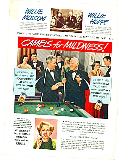 1949 - Camels Cigarettes - WILLIE HOPPE (Image1)