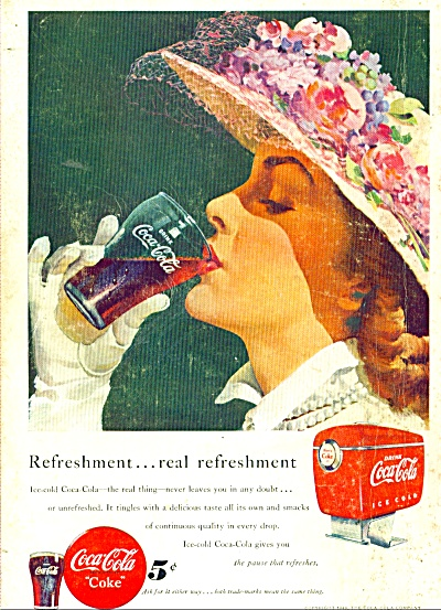 1948 COCA COLA AD Harry Anderson ART LADY (Image1)