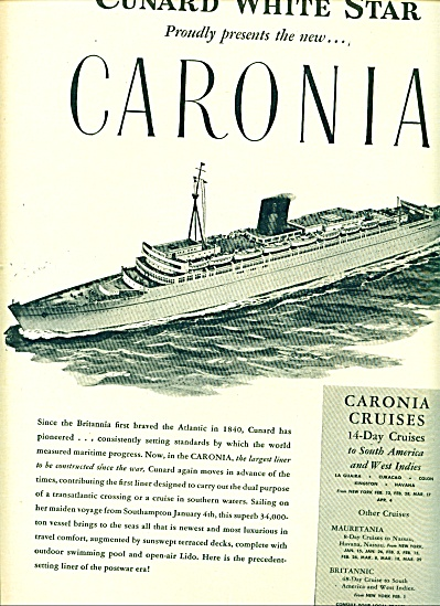 1949 - Cunard White Star Ad