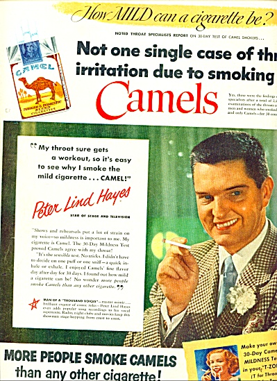 1950 - Camels cigarettes - P;ETER LIND HAYES (Image1)