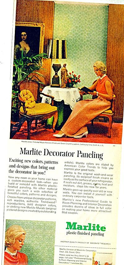 Marlite plastic finished paneling ad 1965 (Image1)