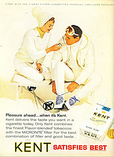 Kent King size cigarettes ad 1965 CUTE COUPLE (Image1)