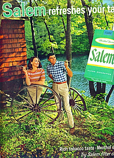 1967 - Salem Cigarettes Ad Wagon Wheels Man And Lady