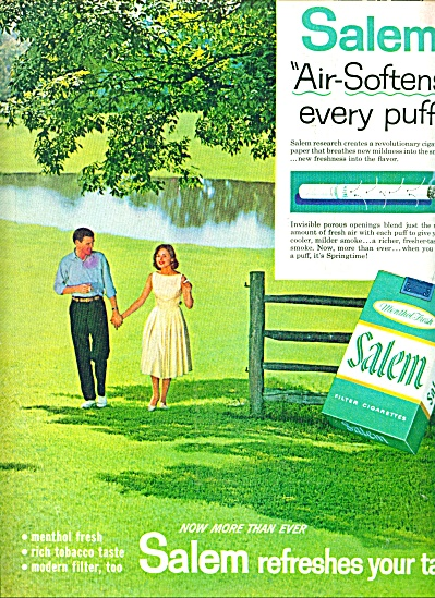 1960 - Salem Cigarettes Ad Couple In Love Field