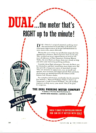 The Dual Parking Meter Company ad 1946 (Image1)