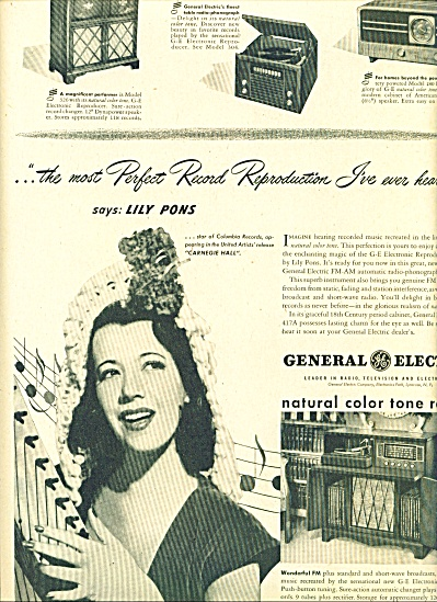 1947 -  General electric radios - LILY PONS (Image1)