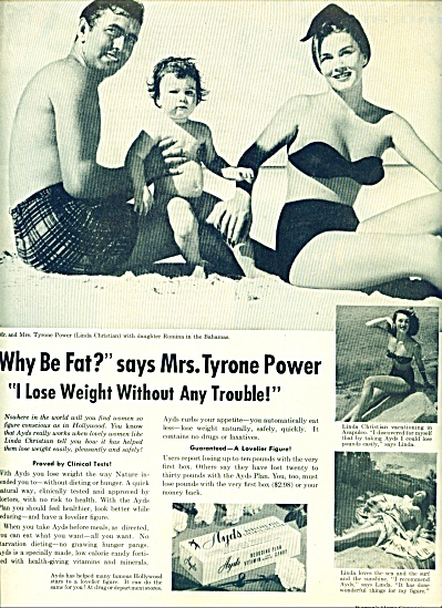 1954 - Ayds reducing plan ad -TYRONE POWER (Image1)