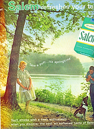 1962 -  Salem cigarettes COUPLE AND SPRINGER SPANIEL (Image1)