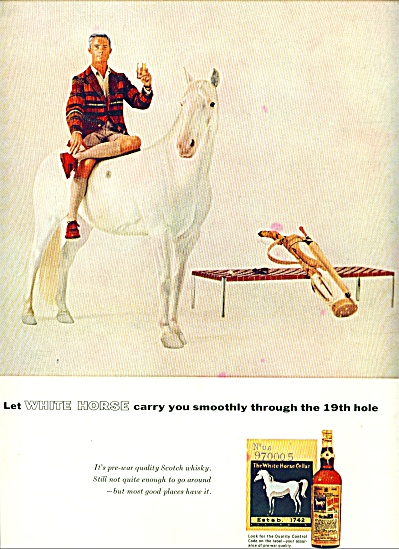 1955 - White Horse Scotch Whisky Ad Man 19th Hole