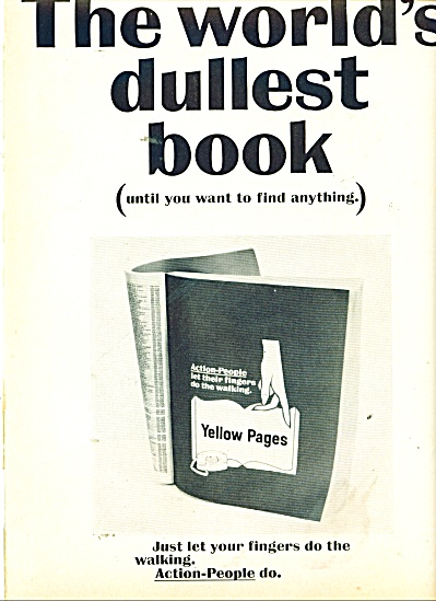 Yellow Pages ad 1965 The WORLDs DULLEST BOOK (Image1)