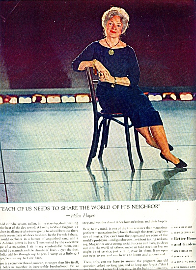 1961 - Helen Hayes Photo Ad Story