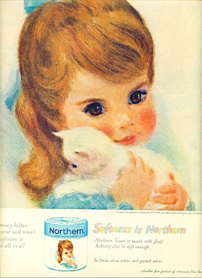 1960 -  Northern tissue ad NORTHERN GIRL W/ CAT (Image1)