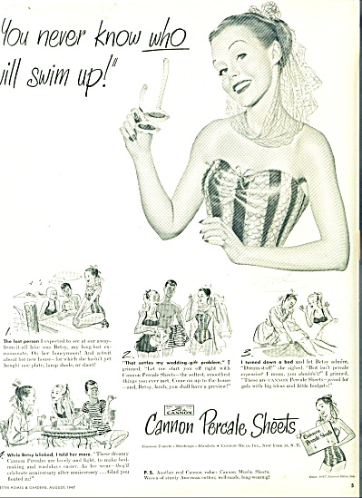 1947 - Cannon Percale sheets ad (Image1)