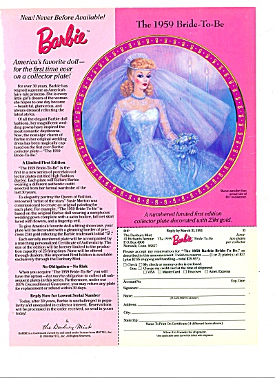 1991 -  Barbie - the 1959 bride to be  plate (Image1)