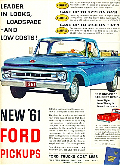 1960 - New '61 Ford pickups ad (Image1)