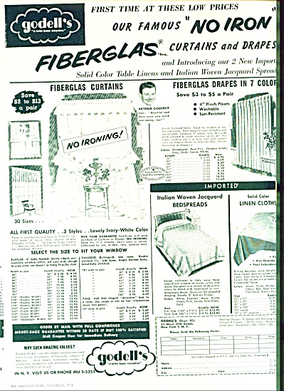 1953 - Godell's Fibergalas Curtains- Godfrey
