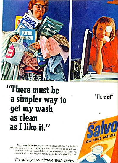 1965 Salvo low suds tablets ad 1965 (Image1)