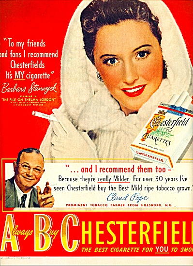 1942 -  Chesterfield cigarettes-BARB STANWYCK (Image1)