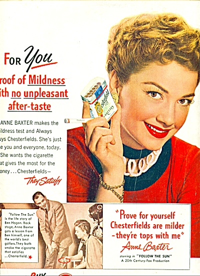1951 - Chesterfield cigarettes - ANNE BAXTER (Image1)