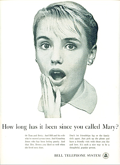 1961 -  Bell Telephone system ad MARY TOM BETTY (Image1)