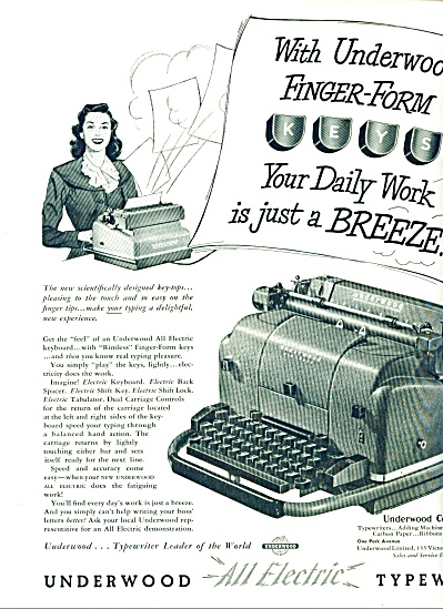 1949 -=  Underwood all electric typewriter ad (Image1)