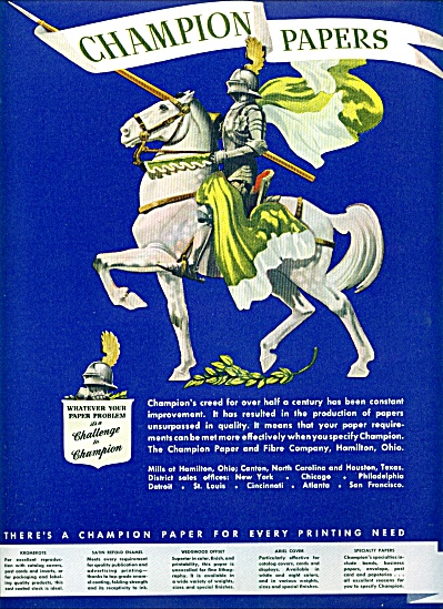 1949 -  Champion papers.  ad (Image1)