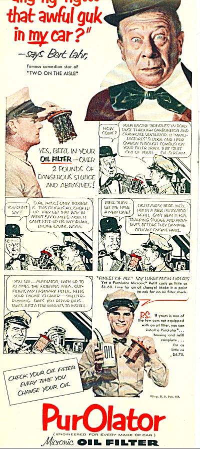 1952 - Purolator Oil Filter Ad Bert Lahr