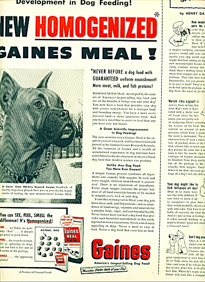 1952 -  Gaines Meal for dogs ad (Image1)