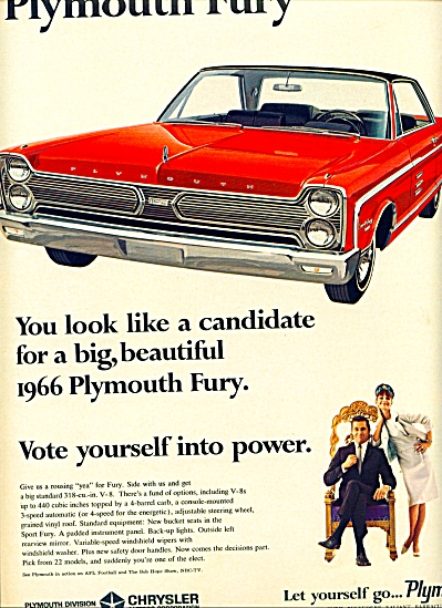 1965 - .plymouth Fury For 1966 Ad