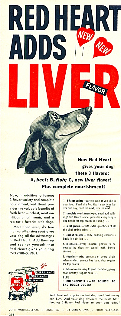 1953 -  Red heart liver dog food. (Image1)