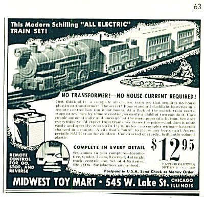 1948 - Midwest Toy Mart - Electrain Train Set