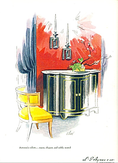 1948 -  L.S. Ayres Co VINTAGE FURNITURE AD Chest -Chair (Image1)
