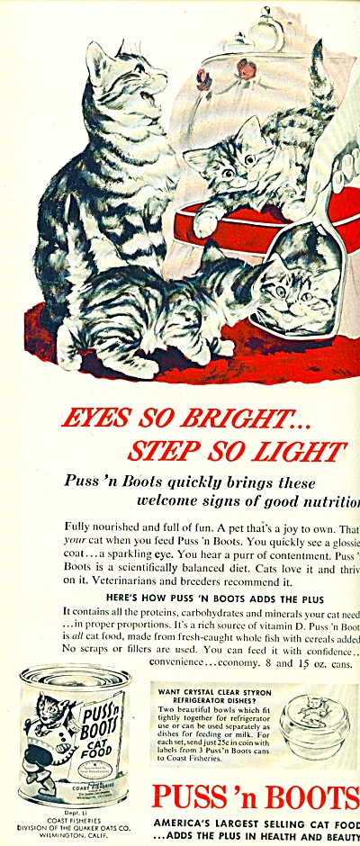 1953 -  Puss 'n Boots cat food ad EYES SO BRIGHT (Image1)