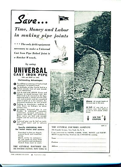 Universal Cast Iron Pipe ad 1946 (Image1)