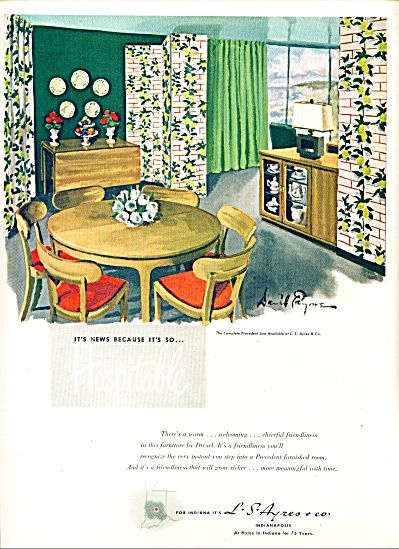 1947 - L.s. Ayres Co - Drexel Furniture Ad Art Picture