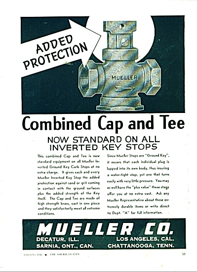 Mueller Co. combined Cap and Tee ad 1946 (Image1)