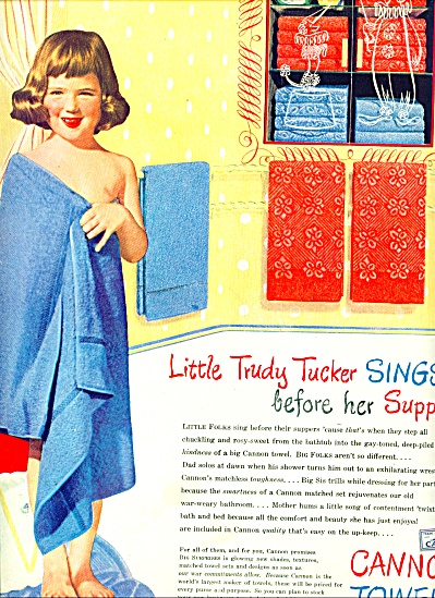 1945 - Cannon Towels, Sheets, Hosiery Ad
