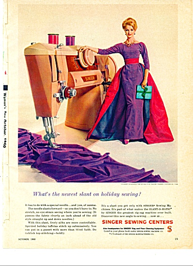 1960 = Singer Sewing Ad Model Sara Thom