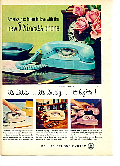 1960 -  Bell Telephone system ad NEW PRINCESS PHONE (Image1)