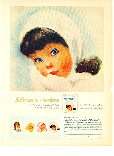 1960 -  Northern Tissue ad NORTHERN WINTER GIRL (Image1)