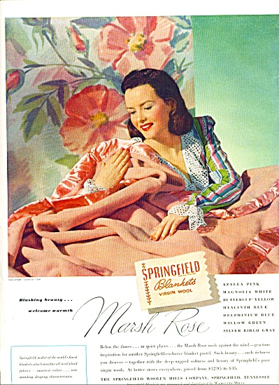 1947 -  Springfield blankets virgin wool ad MARSH ROSE (Image1)