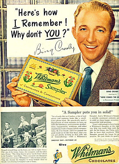 1950 -  WHITman's Chocolates- BING CROSBY (Image1)