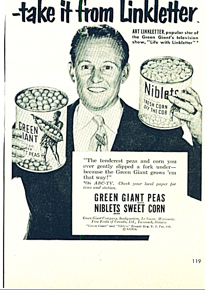 1950-  Green Giant peas and corn- LINKLETTER (Image1)
