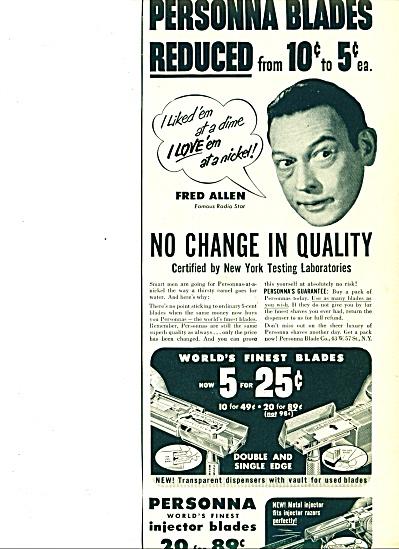 1950 -  Personna shaving blades ad FRED ALLEN (Image1)
