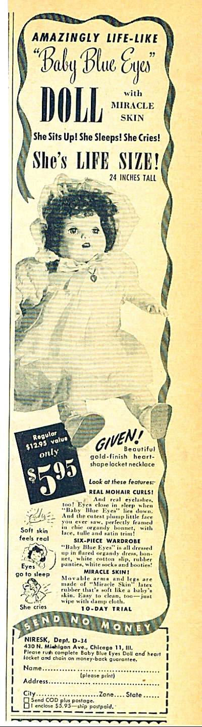 1949 -  Niresk -  Baby Blue eyes doll ad (Image1)
