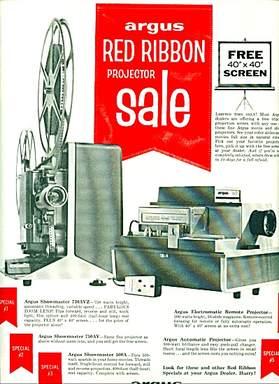 1961 -  Argus red ribbon projector ad (Image1)