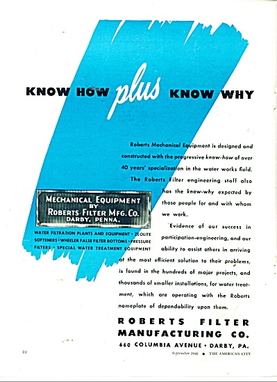 Roberts Filter Manufacturing Co. ad 1946 (Image1)