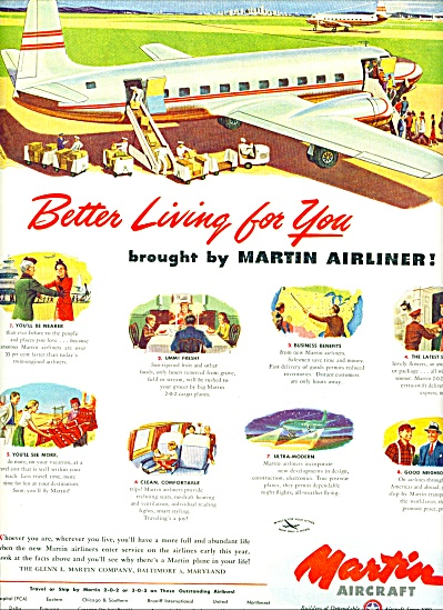 1947 -  Martin Aircraft ad Airplane Better Living (Image1)