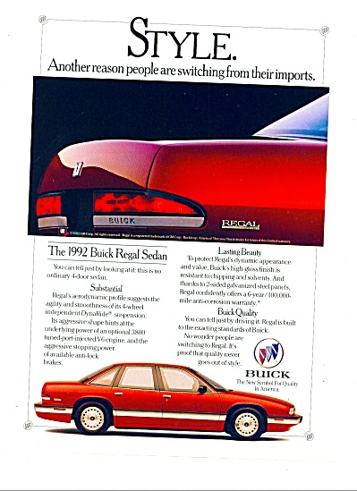 1992 - Buick REgal sedan ad (Image1)
